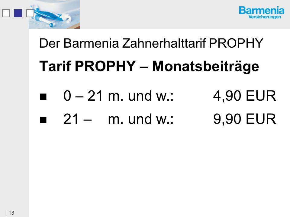 18 Der Barmenia Zahnerhalttarif PROPHY Tarif PROPHY – Monatsbeiträge 0 – 21 m.
