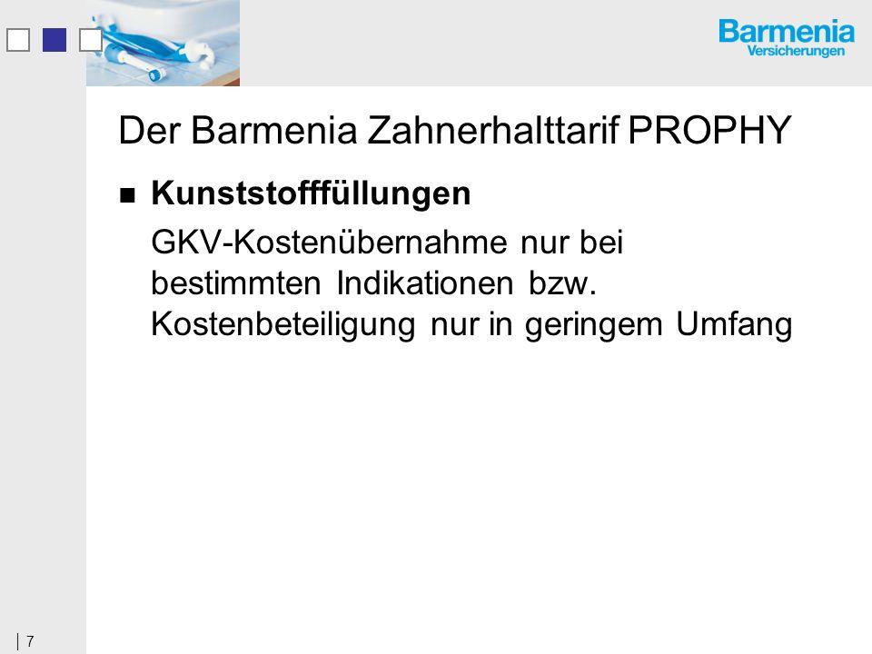 7 Der Barmenia Zahnerhalttarif PROPHY Kunststofffüllungen GKV-Kostenübernahme nur bei bestimmten Indikationen bzw.
