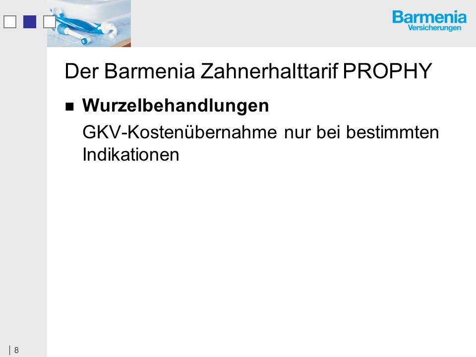 8 Der Barmenia Zahnerhalttarif PROPHY Wurzelbehandlungen GKV-Kostenübernahme nur bei bestimmten Indikationen