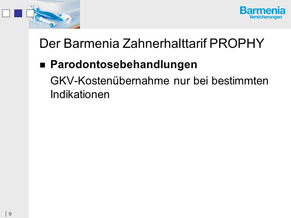 9 Der Barmenia Zahnerhalttarif PROPHY Parodontosebehandlungen GKV-Kostenübernahme nur bei bestimmten Indikationen