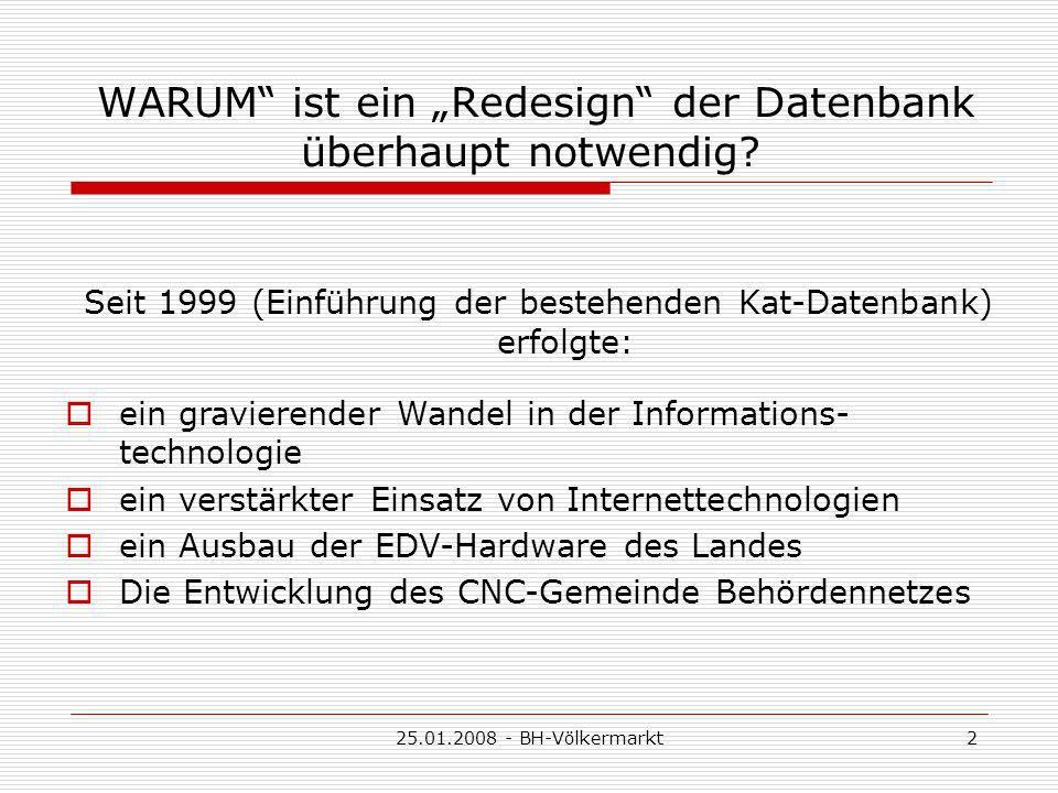 25.01.2008 - BH-Völkermarkt2 WARUM ist ein Redesign der Datenbank überhaupt notwendig.