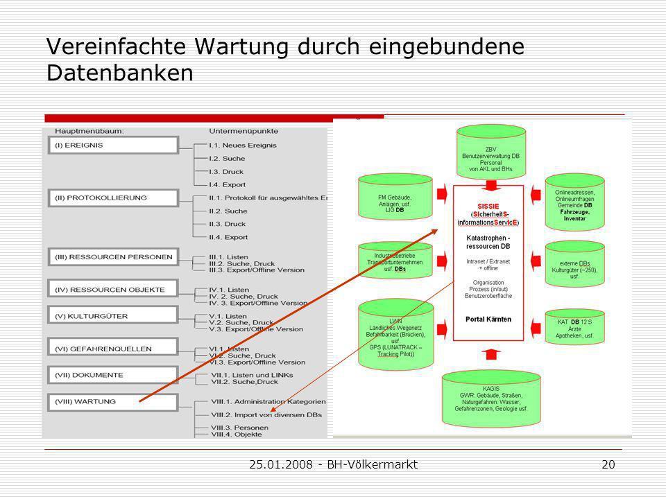 25.01.2008 - BH-Völkermarkt20 Vereinfachte Wartung durch eingebundene Datenbanken