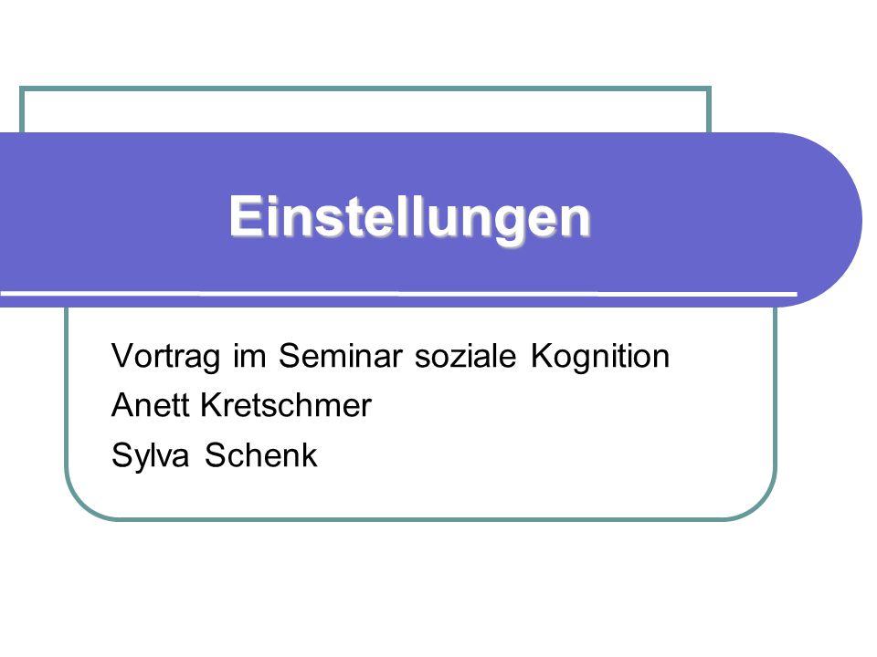 Einstellungen Vortrag im Seminar soziale Kognition Anett Kretschmer Sylva Schenk
