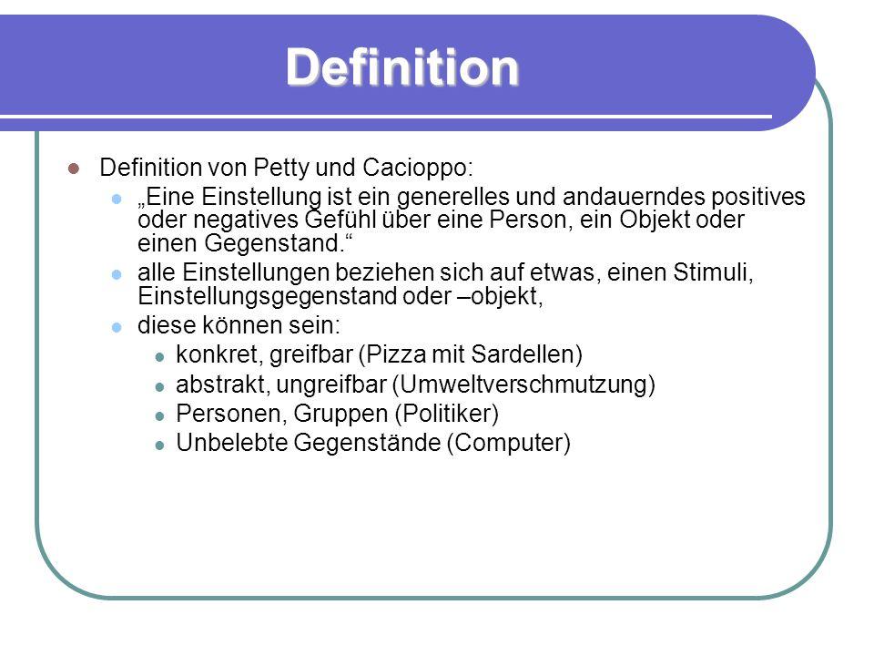 Definition Definition von Petty und Cacioppo: Eine Einstellung ist ein generelles und andauerndes positives oder negatives Gefühl über eine Person, ein Objekt oder einen Gegenstand.