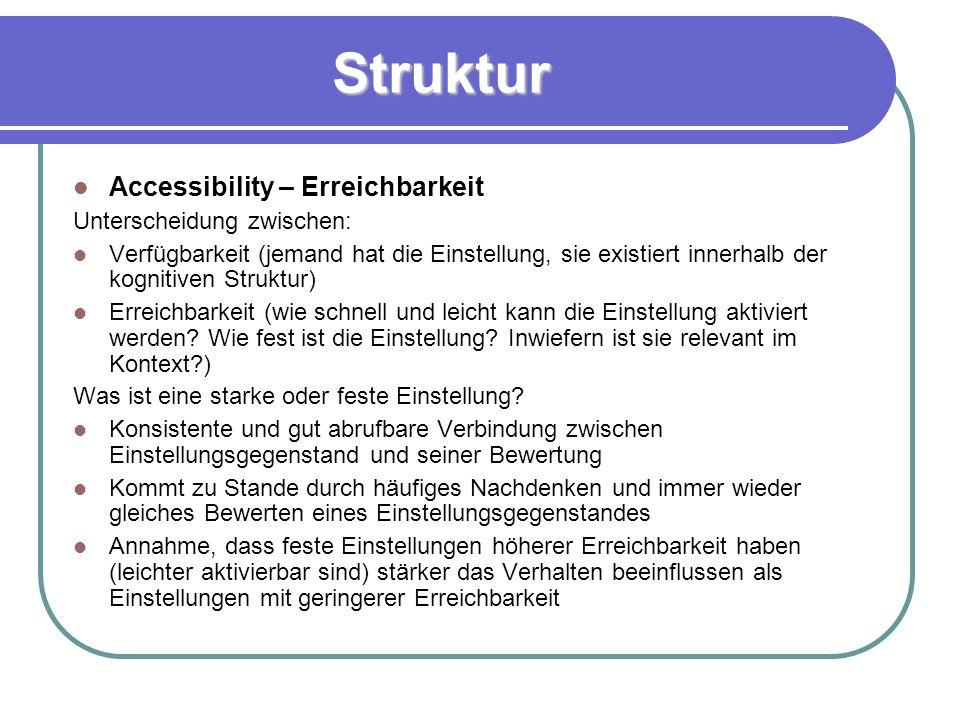 Struktur Accessibility – Erreichbarkeit Unterscheidung zwischen: Verfügbarkeit (jemand hat die Einstellung, sie existiert innerhalb der kognitiven Struktur) Erreichbarkeit (wie schnell und leicht kann die Einstellung aktiviert werden.