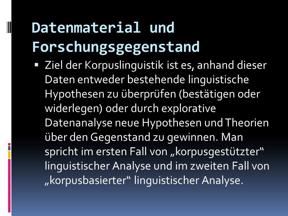 Datenmaterial und Forschungsgegenstand Ziel der Korpuslinguistik ist es, anhand dieser Daten entweder bestehende linguistische Hypothesen zu überprüfe