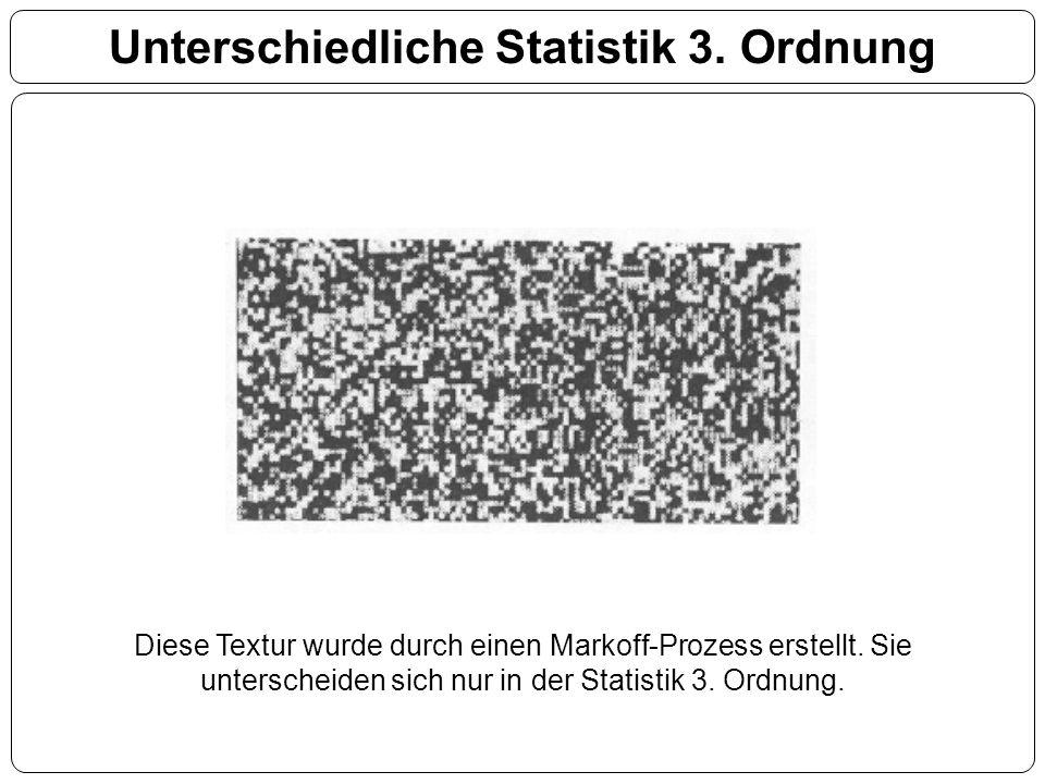 Unterschiedliche Statistik 3. Ordnung Diese Textur wurde durch einen Markoff-Prozess erstellt. Sie unterscheiden sich nur in der Statistik 3. Ordnung.