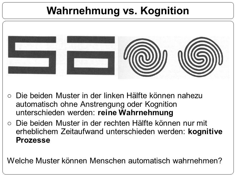 Wahrnehmung vs. Kognition Die beiden Muster in der linken Hälfte können nahezu automatisch ohne Anstrengung oder Kognition unterschieden werden: reine