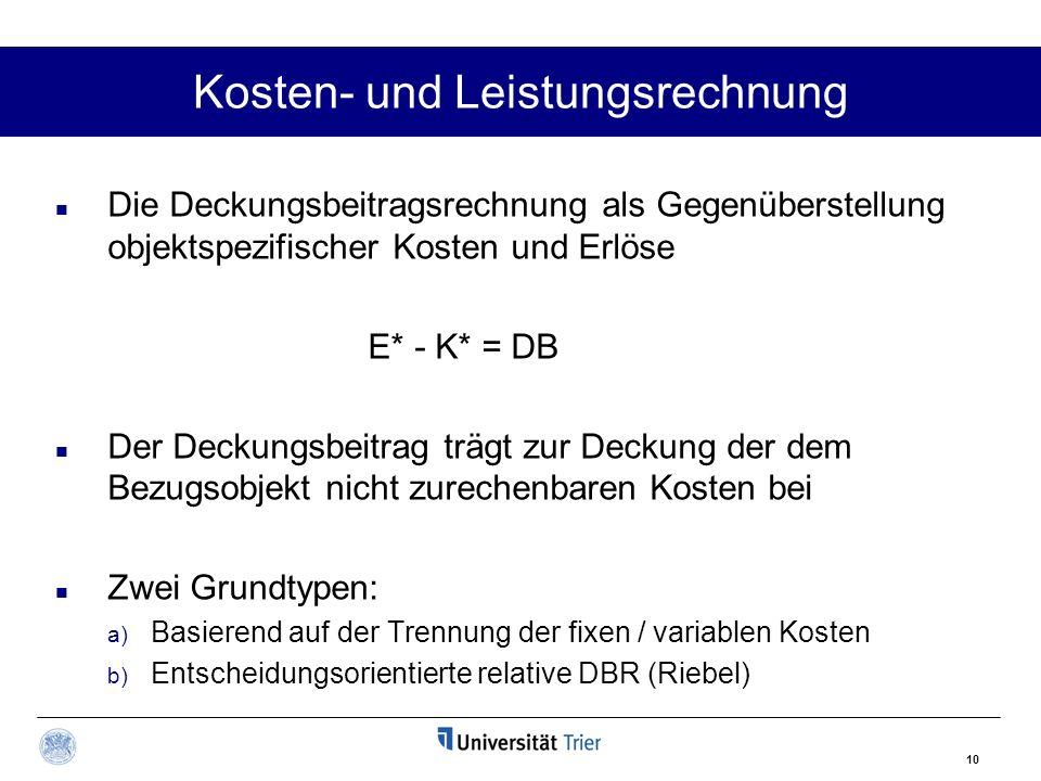 10 Kosten- und Leistungsrechnung Die Deckungsbeitragsrechnung als Gegenüberstellung objektspezifischer Kosten und Erlöse E* - K* = DB Der Deckungsbeit