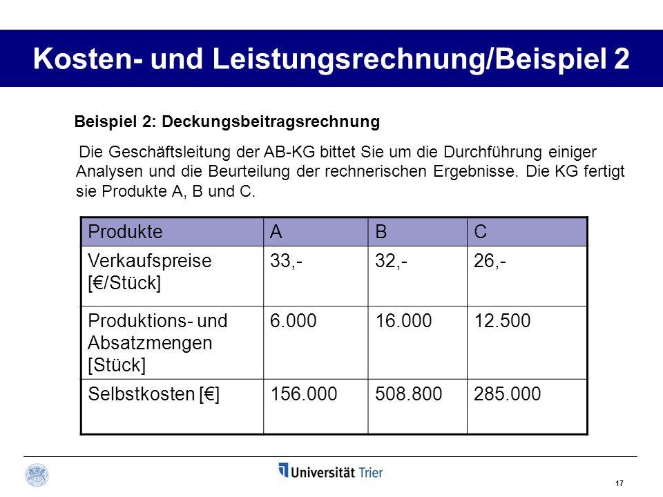 17 Kosten- und Leistungsrechnung/Beispiel 2 ProdukteABC Verkaufspreise [/Stück] 33,-32,-26,- Produktions- und Absatzmengen [Stück] 6.00016.00012.500 S