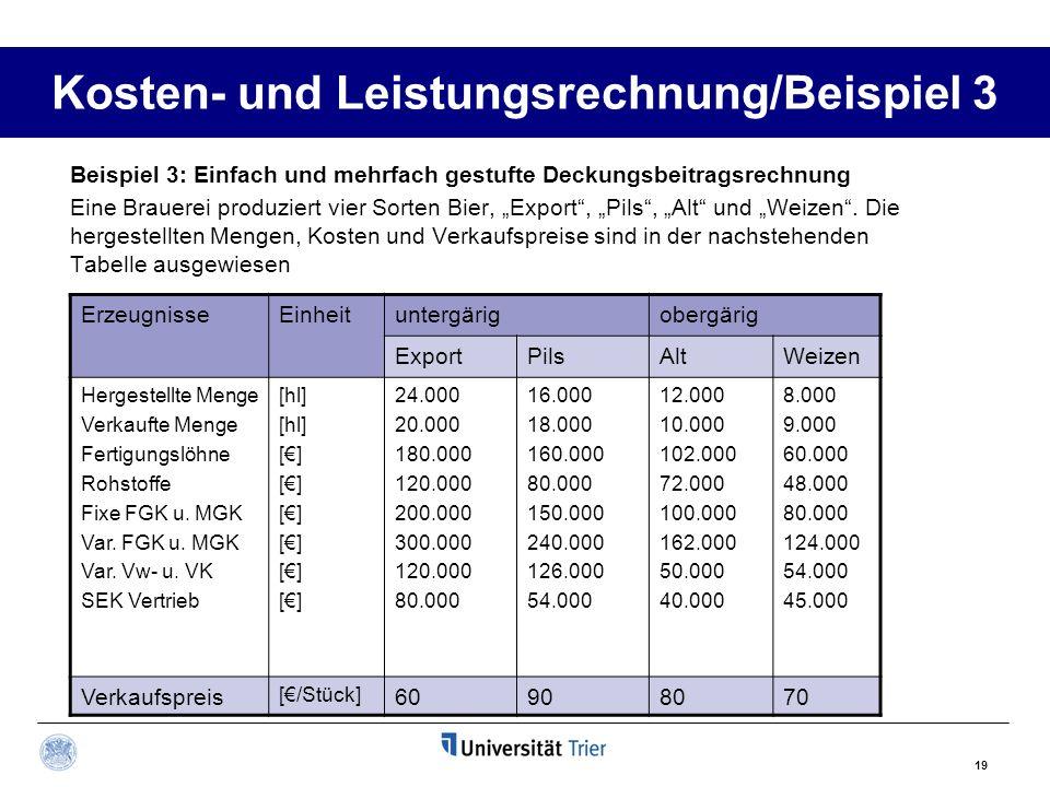 19 Kosten- und Leistungsrechnung/Beispiel 3 Beispiel 3: Einfach und mehrfach gestufte Deckungsbeitragsrechnung Eine Brauerei produziert vier Sorten Bi