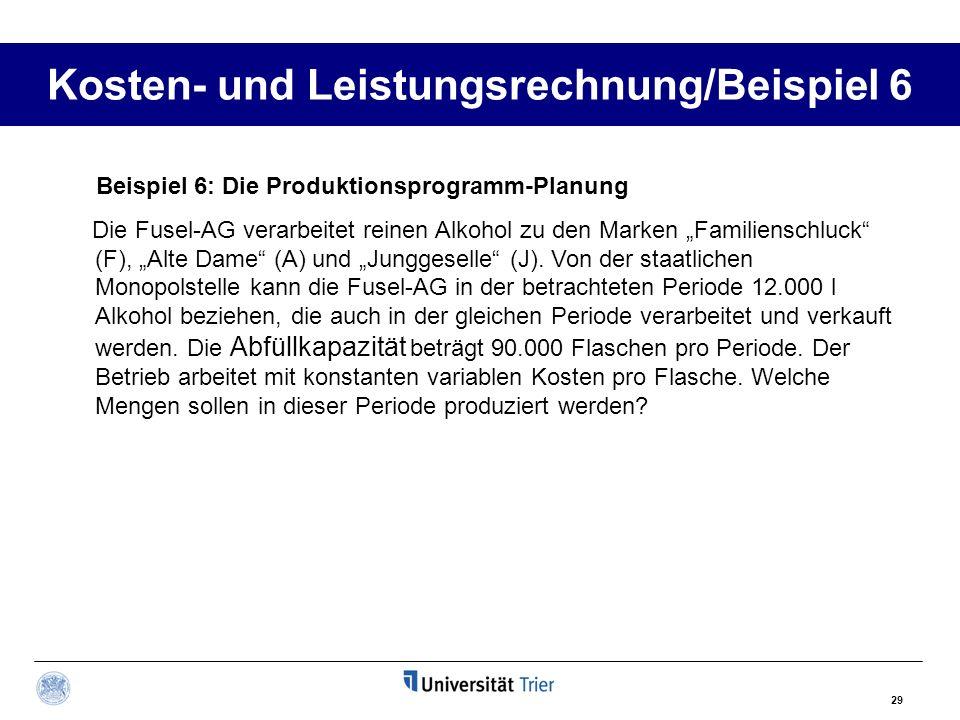 29 Kosten- und Leistungsrechnung/Beispiel 6 Beispiel 6: Die Produktionsprogramm-Planung Die Fusel-AG verarbeitet reinen Alkohol zu den Marken Familien
