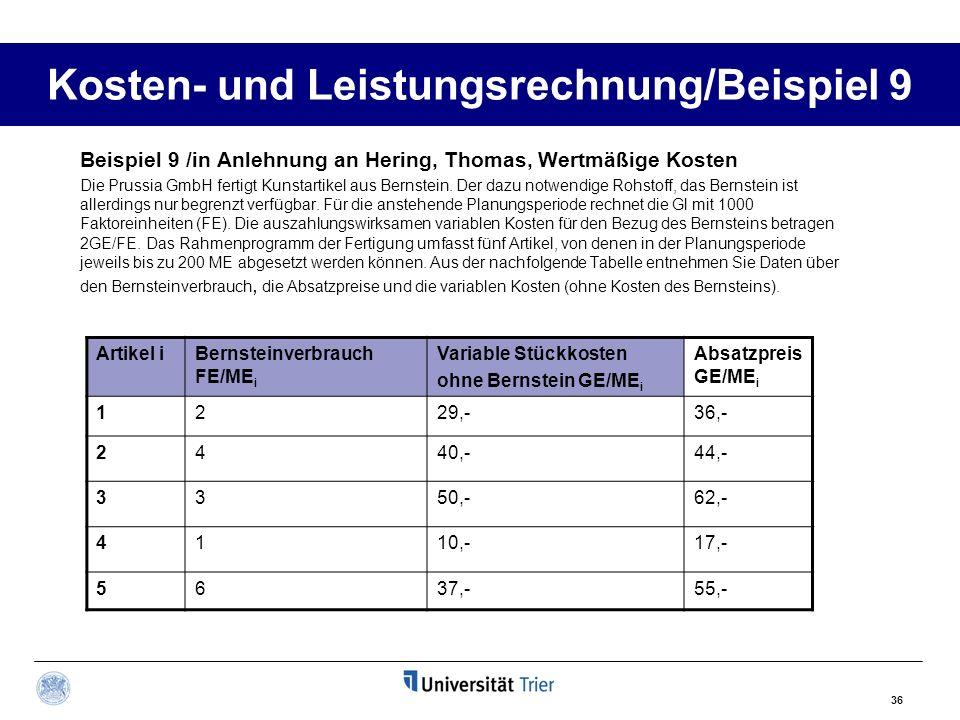 36 Kosten- und Leistungsrechnung/Beispiel 9 Beispiel 9 /in Anlehnung an Hering, Thomas, Wertmäßige Kosten Die Prussia GmbH fertigt Kunstartikel aus Be