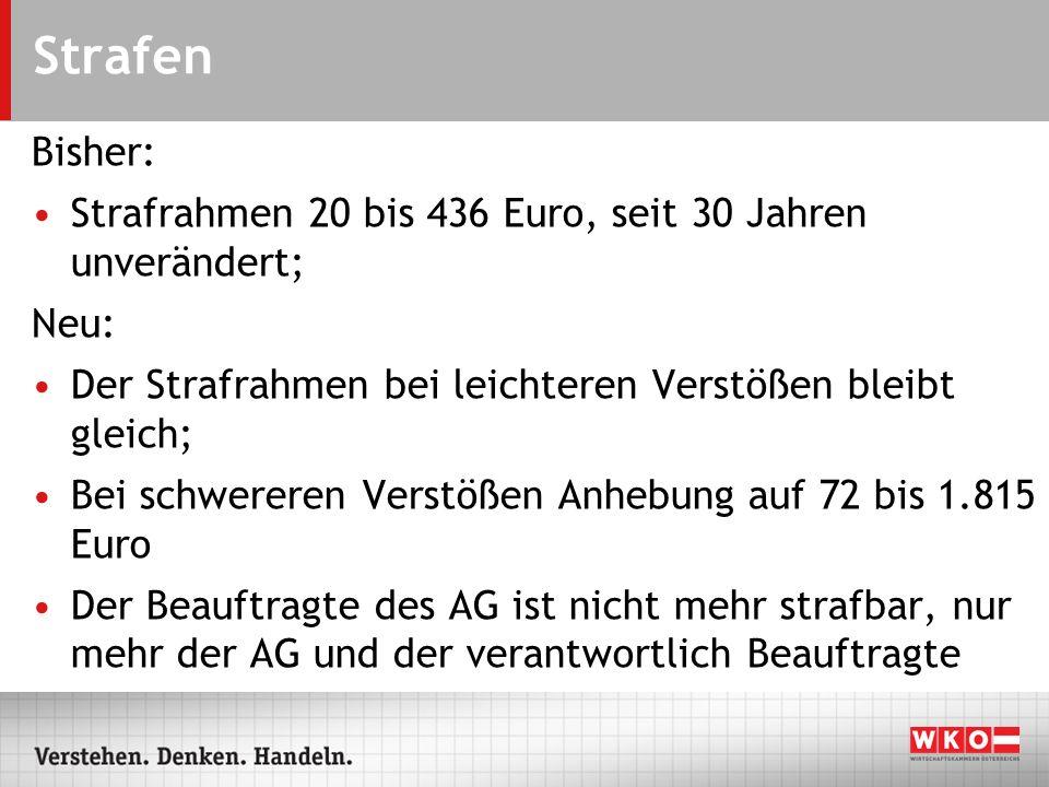 Strafen Bisher: Strafrahmen 20 bis 436 Euro, seit 30 Jahren unverändert; Neu: Der Strafrahmen bei leichteren Verstößen bleibt gleich; Bei schwereren V