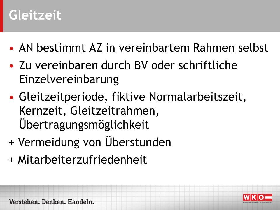 Gleitzeit – Normalarbeitszeit 10 Stunden Bisher: Die tägliche Normalarbeitszeit beträgt 9 Stunden, der KV kann 10 Stunden vorsehen.