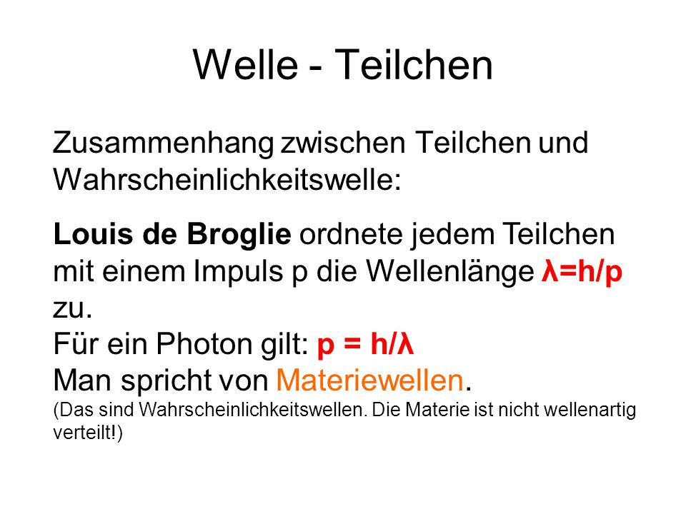 Welle - Teilchen Zusammenhang zwischen Teilchen und Wahrscheinlichkeitswelle: Louis de Broglie ordnete jedem Teilchen mit einem Impuls p die Wellenlän