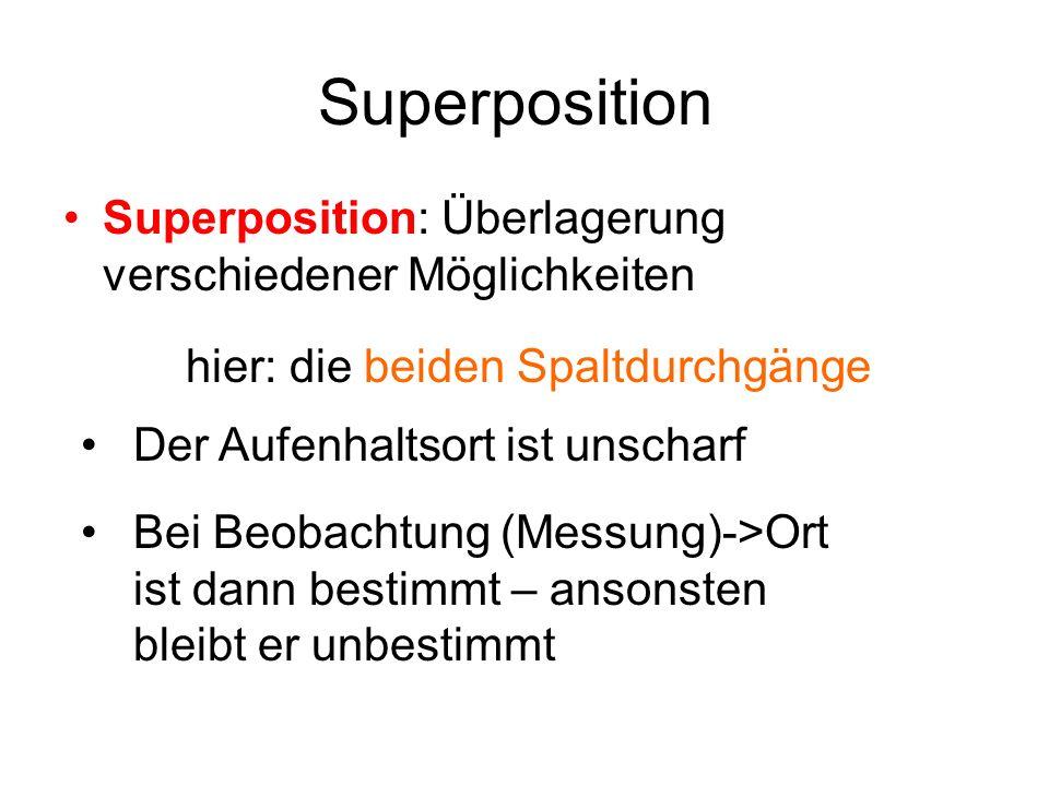 Superposition Superposition: Überlagerung verschiedener Möglichkeiten hier: die beiden Spaltdurchgänge Der Aufenhaltsort ist unscharf Bei Beobachtung