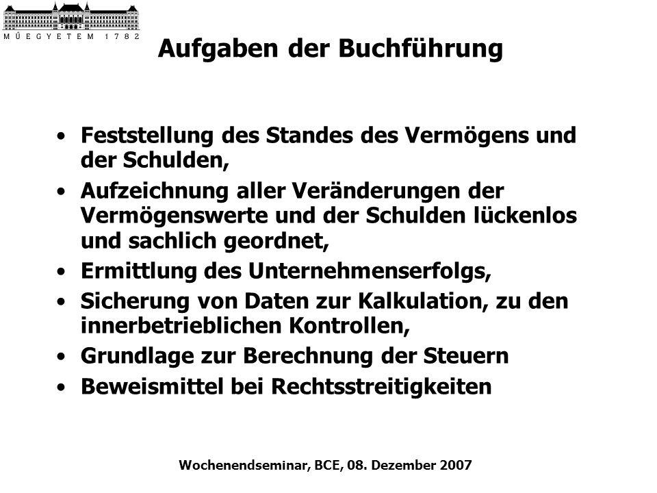 Wochenendseminar, BCE, 08. Dezember 2007 Aufgaben der Buchführung Feststellung des Standes des Vermögens und der Schulden, Aufzeichnung aller Veränder