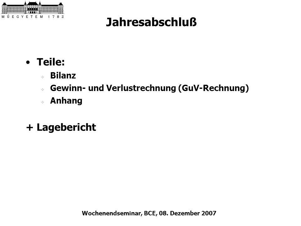 Wochenendseminar, BCE, 08. Dezember 2007 Jahresabschluß Teile: Bilanz Gewinn- und Verlustrechnung (GuV-Rechnung) Anhang + Lagebericht