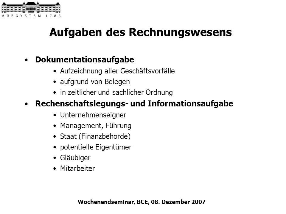 Wochenendseminar, BCE, 08. Dezember 2007 Aufgaben des Rechnungswesens Dokumentationsaufgabe Aufzeichnung aller Geschäftsvorfälle aufgrund von Belegen