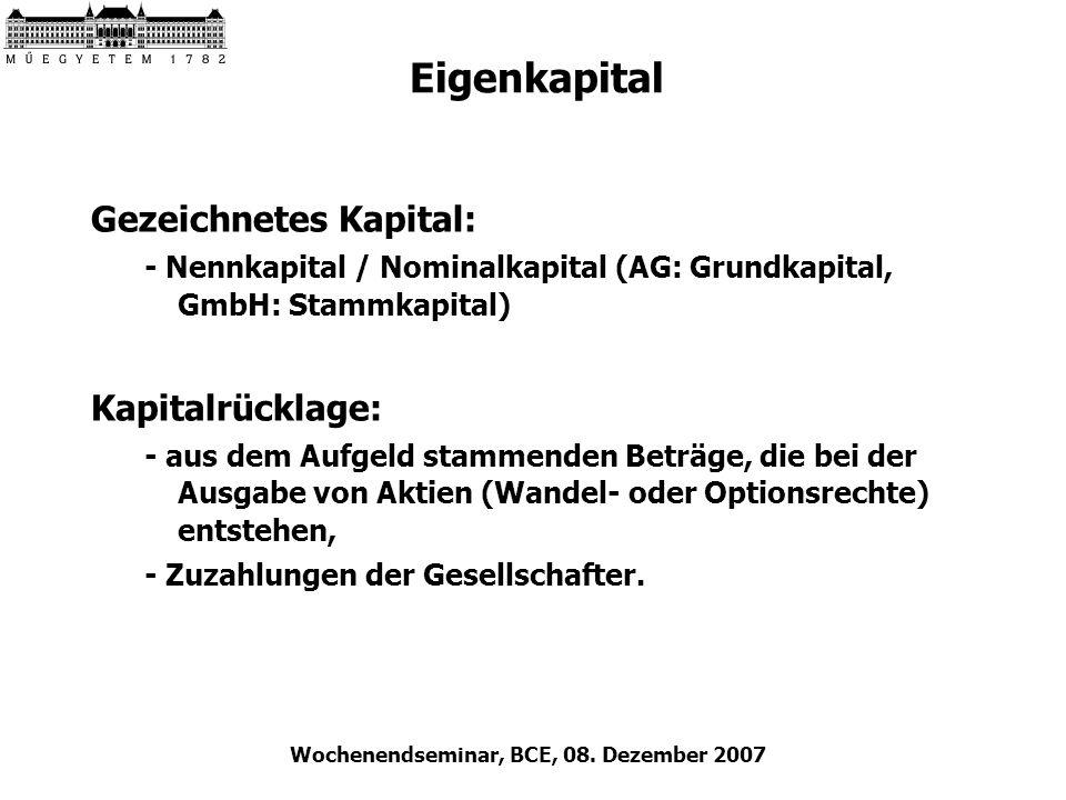 Wochenendseminar, BCE, 08. Dezember 2007 Eigenkapital Gezeichnetes Kapital: - Nennkapital / Nominalkapital (AG: Grundkapital, GmbH: Stammkapital) Kapi