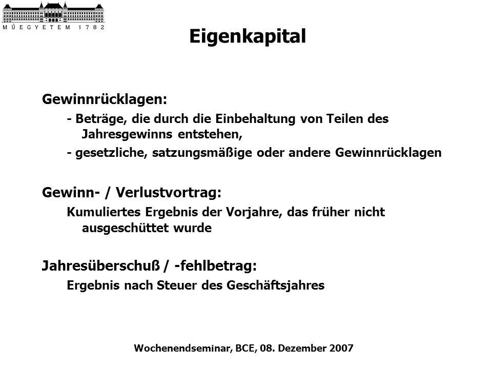 Wochenendseminar, BCE, 08. Dezember 2007 Eigenkapital Gewinnrücklagen: - Beträge, die durch die Einbehaltung von Teilen des Jahresgewinns entstehen, -