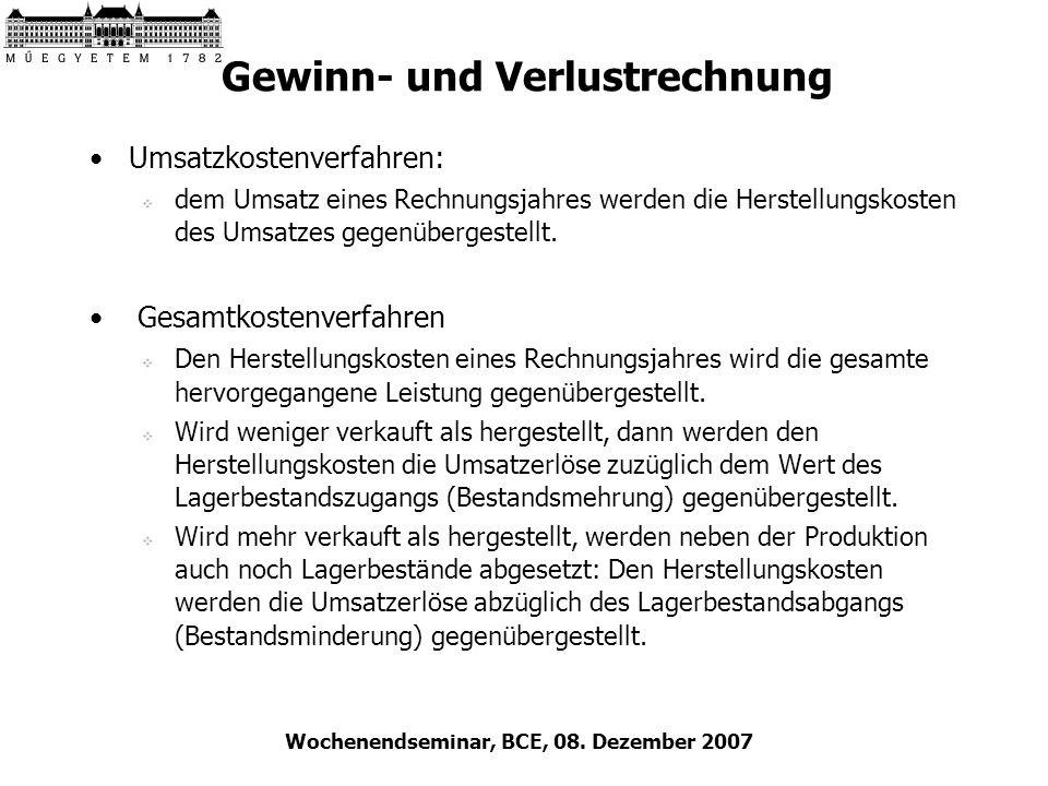 Wochenendseminar, BCE, 08. Dezember 2007 Gewinn- und Verlustrechnung Umsatzkostenverfahren: dem Umsatz eines Rechnungsjahres werden die Herstellungsko