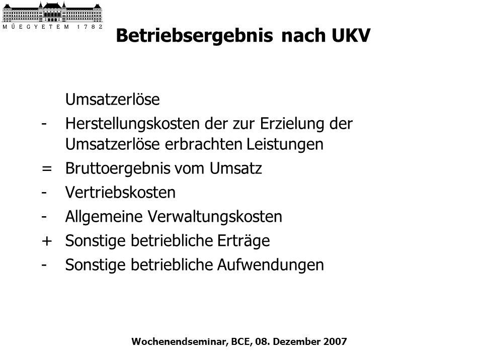 Wochenendseminar, BCE, 08. Dezember 2007 Betriebsergebnis nach UKV Umsatzerlöse -Herstellungskosten der zur Erzielung der Umsatzerlöse erbrachten Leis