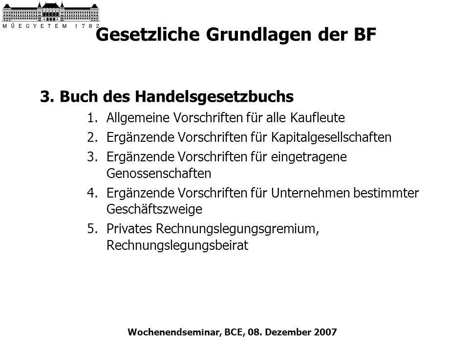 Wochenendseminar, BCE, 08. Dezember 2007 Gesetzliche Grundlagen der BF 3. Buch des Handelsgesetzbuchs 1.Allgemeine Vorschriften für alle Kaufleute 2.E