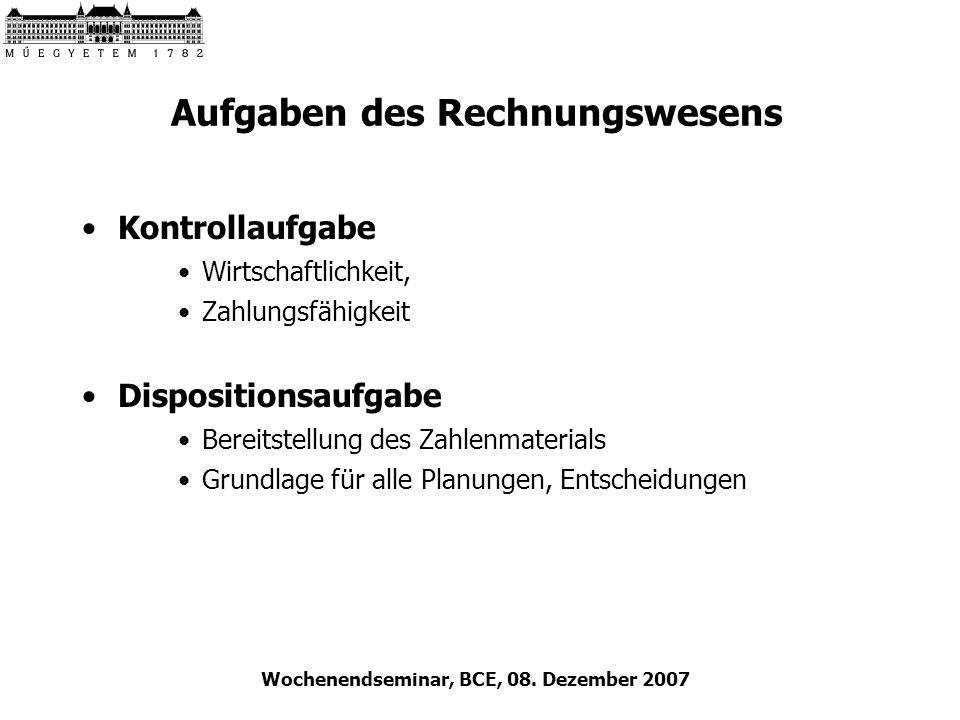 Wochenendseminar, BCE, 08. Dezember 2007 Aufgaben des Rechnungswesens Kontrollaufgabe Wirtschaftlichkeit, Zahlungsfähigkeit Dispositionsaufgabe Bereit