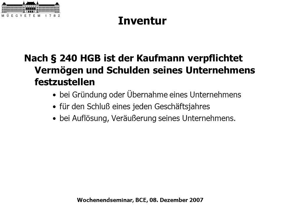 Wochenendseminar, BCE, 08. Dezember 2007 Inventur Nach § 240 HGB ist der Kaufmann verpflichtet Vermögen und Schulden seines Unternehmens festzustellen