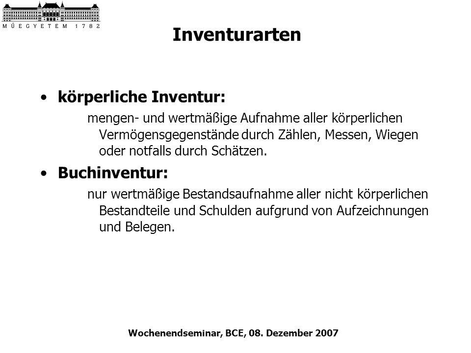 Wochenendseminar, BCE, 08. Dezember 2007 Inventurarten körperliche Inventur: mengen- und wertmäßige Aufnahme aller körperlichen Vermögensgegenstände d