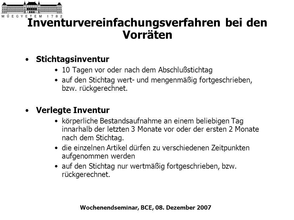 Wochenendseminar, BCE, 08. Dezember 2007 Inventurvereinfachungsverfahren bei den Vorräten Stichtagsinventur 10 Tagen vor oder nach dem Abschlußstichta
