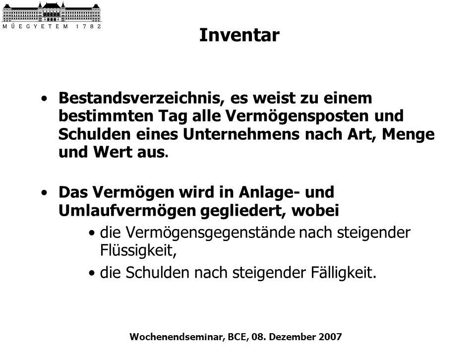Wochenendseminar, BCE, 08. Dezember 2007 Inventar Bestandsverzeichnis, es weist zu einem bestimmten Tag alle Vermögensposten und Schulden eines Untern