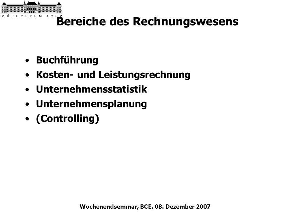 Wochenendseminar, BCE, 08. Dezember 2007 Bereiche des Rechnungswesens Buchführung Kosten- und Leistungsrechnung Unternehmensstatistik Unternehmensplan