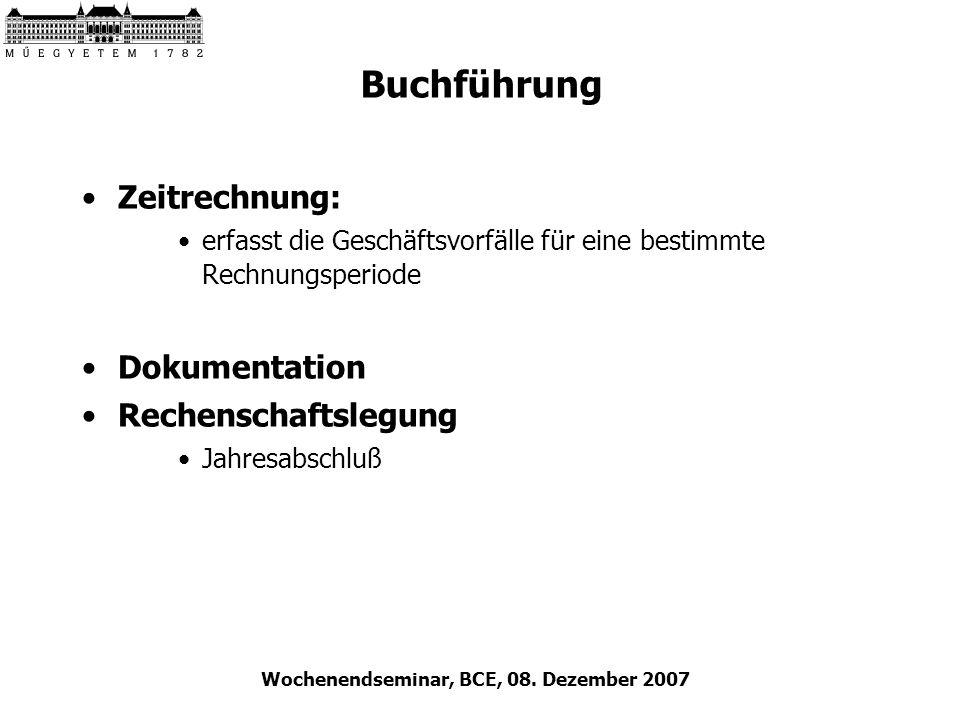 Wochenendseminar, BCE, 08. Dezember 2007 Buchführung Zeitrechnung: erfasst die Geschäftsvorfälle für eine bestimmte Rechnungsperiode Dokumentation Rec