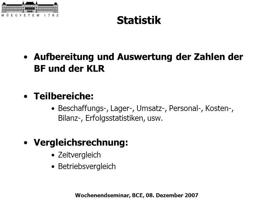 Wochenendseminar, BCE, 08. Dezember 2007 Statistik Aufbereitung und Auswertung der Zahlen der BF und der KLR Teilbereiche: Beschaffungs-, Lager-, Umsa