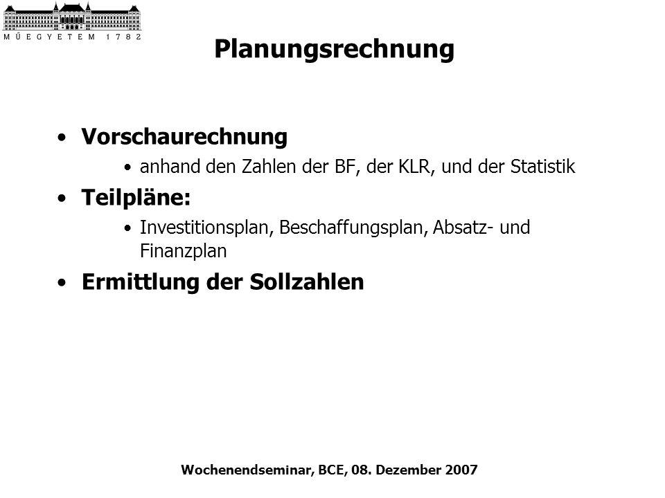 Wochenendseminar, BCE, 08. Dezember 2007 Planungsrechnung Vorschaurechnung anhand den Zahlen der BF, der KLR, und der Statistik Teilpläne: Investition