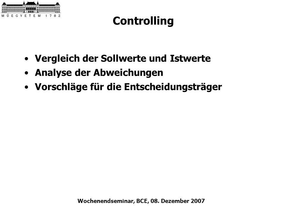 Wochenendseminar, BCE, 08. Dezember 2007 Controlling Vergleich der Sollwerte und Istwerte Analyse der Abweichungen Vorschläge für die Entscheidungsträ