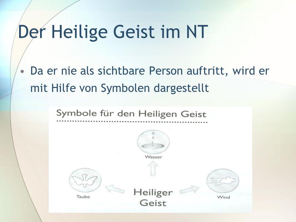 Der Heilige Geist im NT Da er nie als sichtbare Person auftritt, wird er mit Hilfe von Symbolen dargestellt
