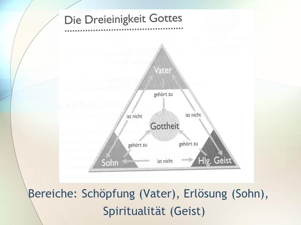 Bereiche: Schöpfung (Vater), Erlösung (Sohn), Spiritualität (Geist)