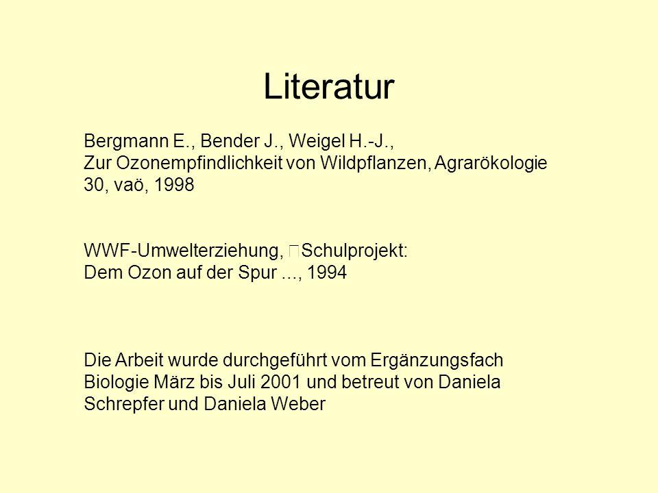 Literatur Bergmann E., Bender J., Weigel H.-J., Zur Ozonempfindlichkeit von Wildpflanzen, Agrarökologie 30, vaö, 1998 WWF-Umwelterziehung, Schulprojek