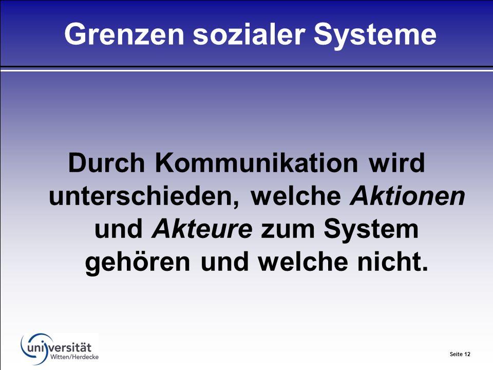 Seite 12 Grenzen sozialer Systeme Durch Kommunikation wird unterschieden, welche Aktionen und Akteure zum System gehören und welche nicht.