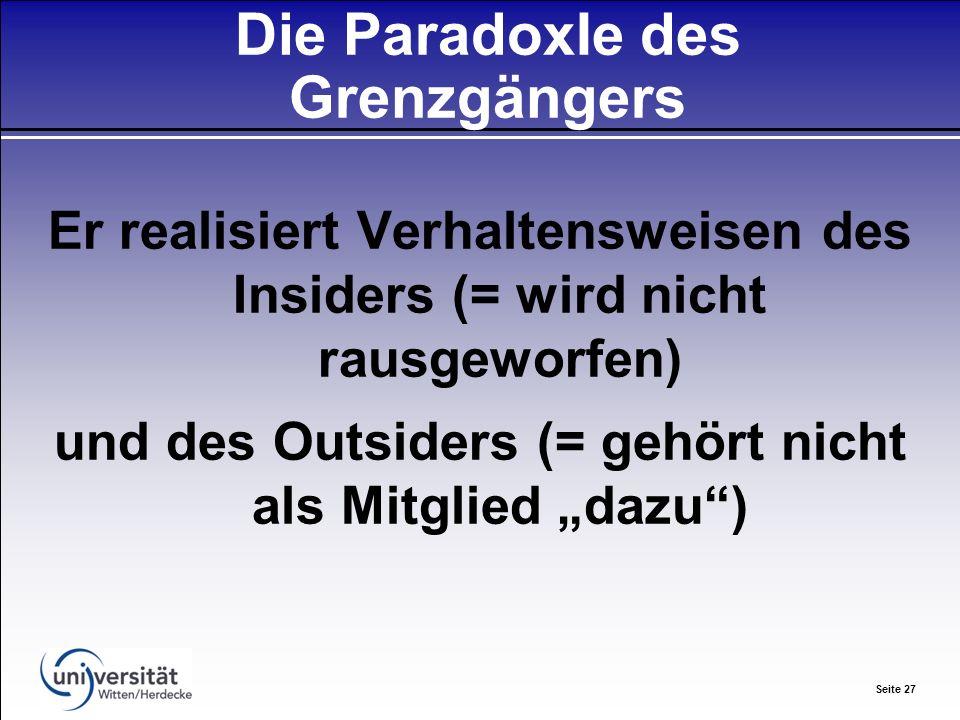 Seite 27 Die ParadoxIe des Grenzgängers Er realisiert Verhaltensweisen des Insiders (= wird nicht rausgeworfen) und des Outsiders (= gehört nicht als Mitglied dazu)