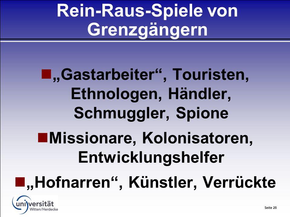 Seite 28 Rein-Raus-Spiele von Grenzgängern Gastarbeiter, Touristen, Ethnologen, Händler, Schmuggler, Spione Missionare, Kolonisatoren, Entwicklungshelfer Hofnarren, Künstler, Verrückte