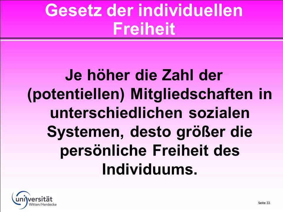 Seite 33 Je höher die Zahl der (potentiellen) Mitgliedschaften in unterschiedlichen sozialen Systemen, desto größer die persönliche Freiheit des Individuums.