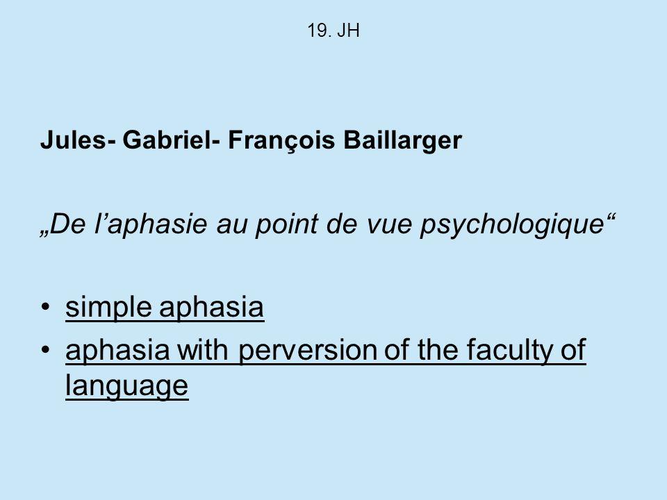 19. JH Jules- Gabriel- François Baillarger De laphasie au point de vue psychologique simple aphasia aphasia with perversion of the faculty of language