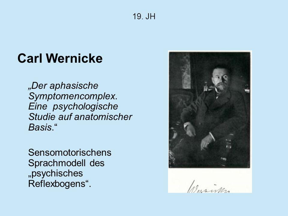 19. JH Carl Wernicke Der aphasische Symptomencomplex. Eine psychologische Studie auf anatomischer Basis. Sensomotorischens Sprachmodell despsychisches