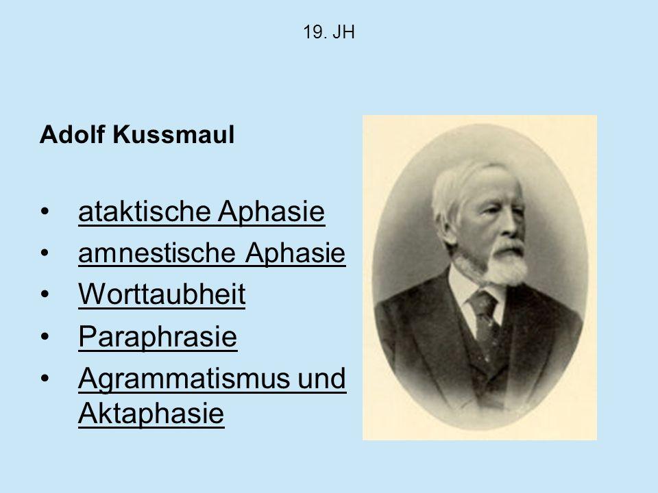 19. JH Adolf Kussmaul ataktische Aphasie amnestische Aphasie Worttaubheit Paraphrasie Agrammatismus und Aktaphasie