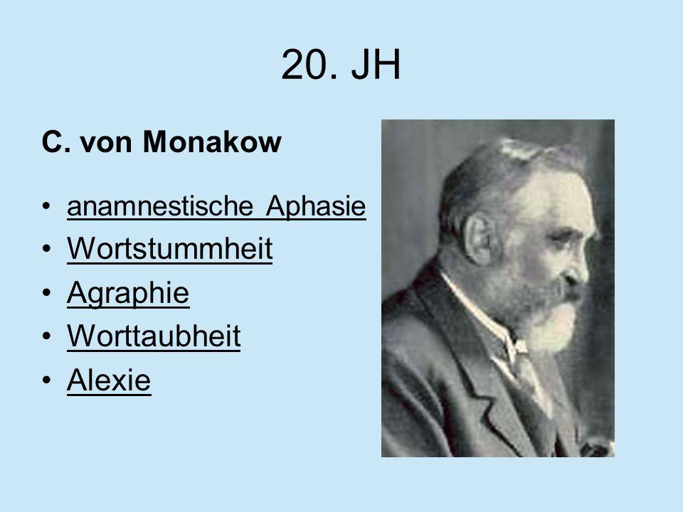 20. JH C. von Monakow anamnestische Aphasie Wortstummheit Agraphie Worttaubheit Alexie